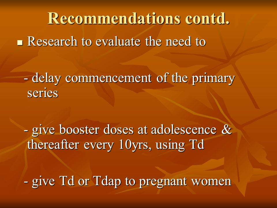 Recommendations contd.