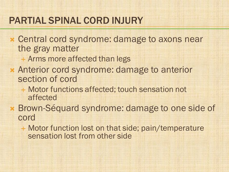 Partial Spinal Cord Injury