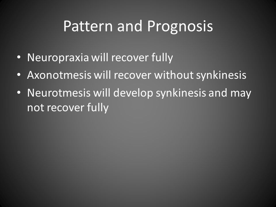 Pattern and Prognosis Neuropraxia will recover fully
