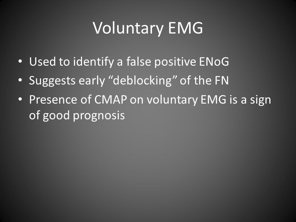 Voluntary EMG Used to identify a false positive ENoG