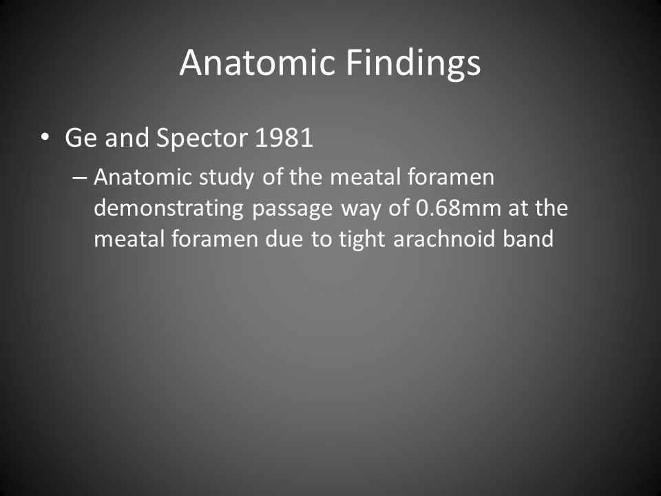 Anatomic Findings Ge and Spector 1981