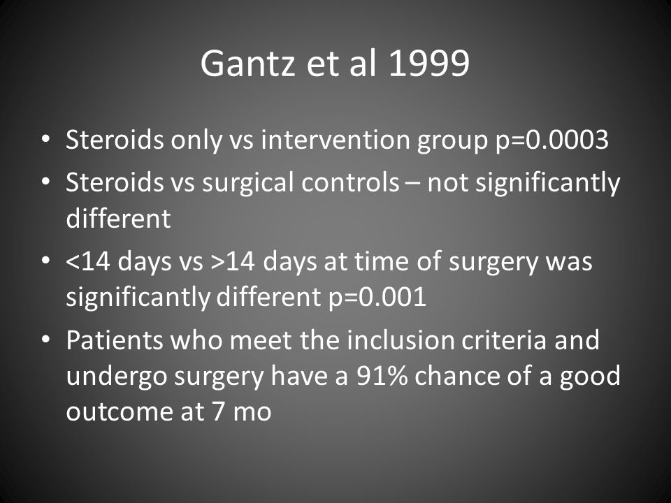 Gantz et al 1999 Steroids only vs intervention group p=0.0003