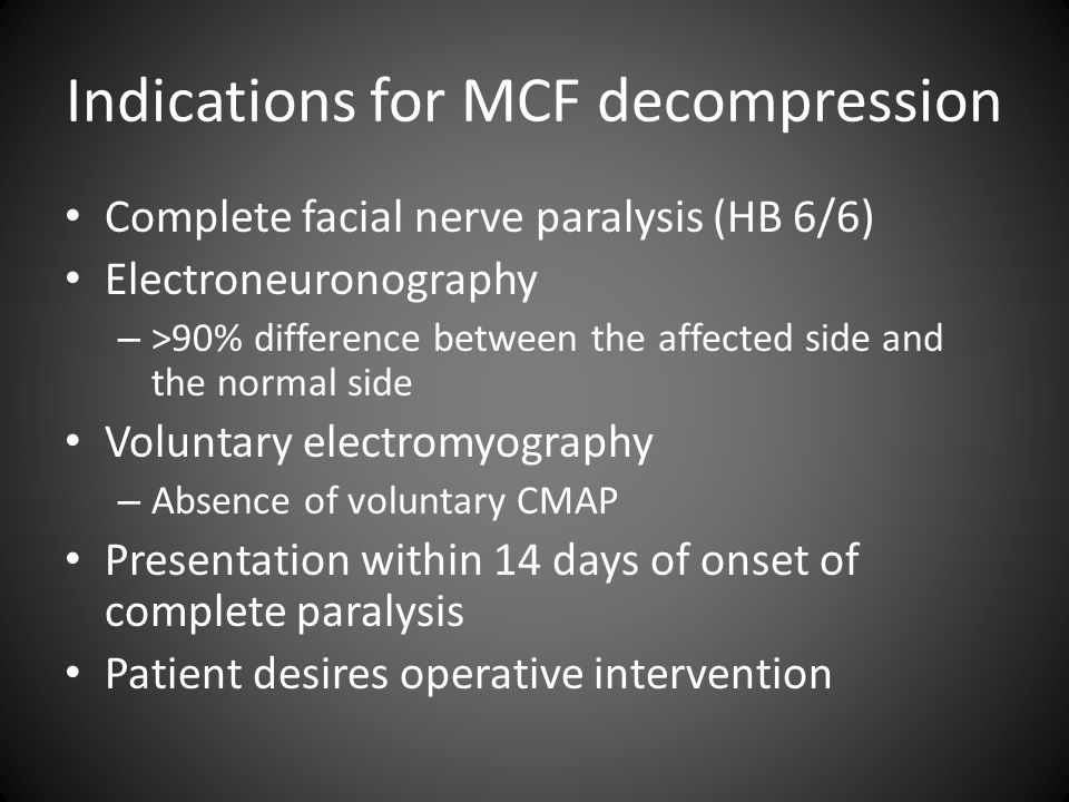Indications for MCF decompression
