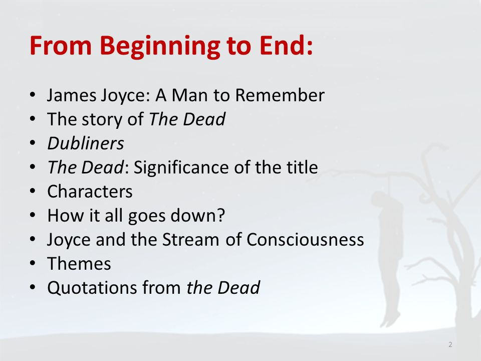 an analysis of the last chapter of dubliners the dead by james joyce The dead is the final story in the 1914 collection dubliners by james joyce the other stories in the collection are shorter, whereas at 15,952 words, the dead is.