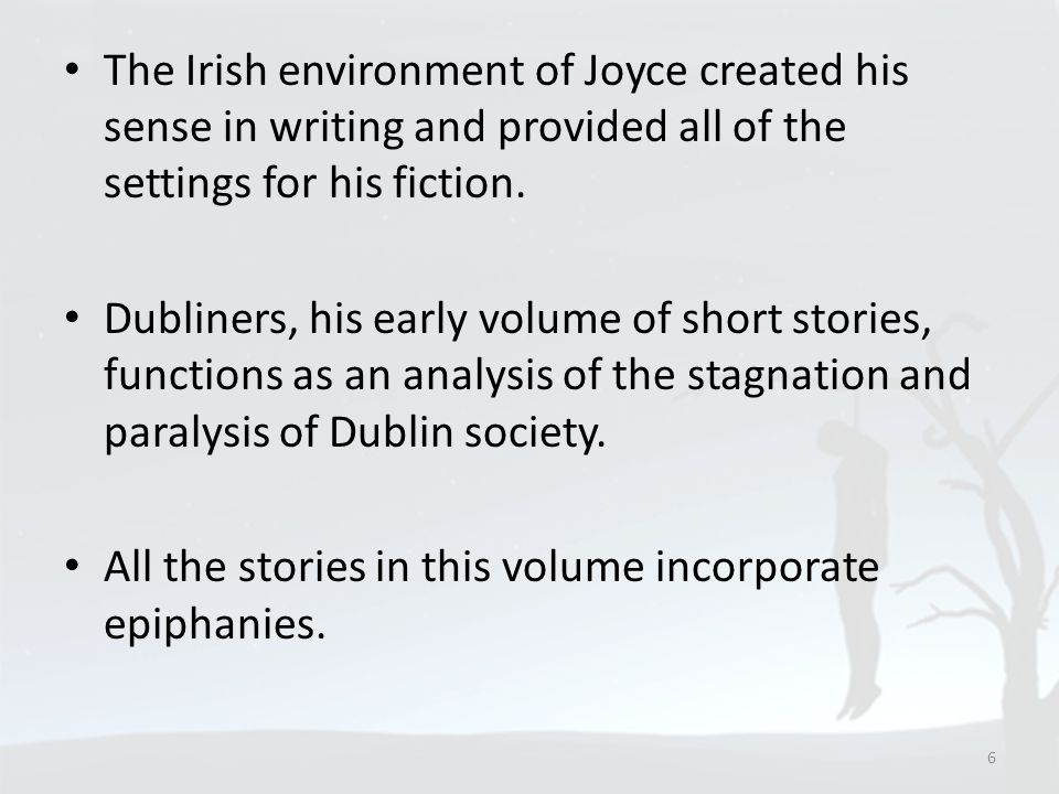 The Irish environment of Joyce created his sense in writing and provided all of the settings for his fiction.