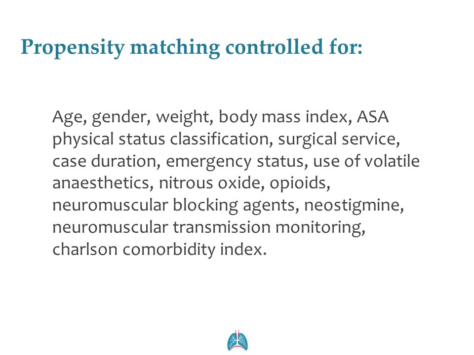 Propensity matching controlled for: