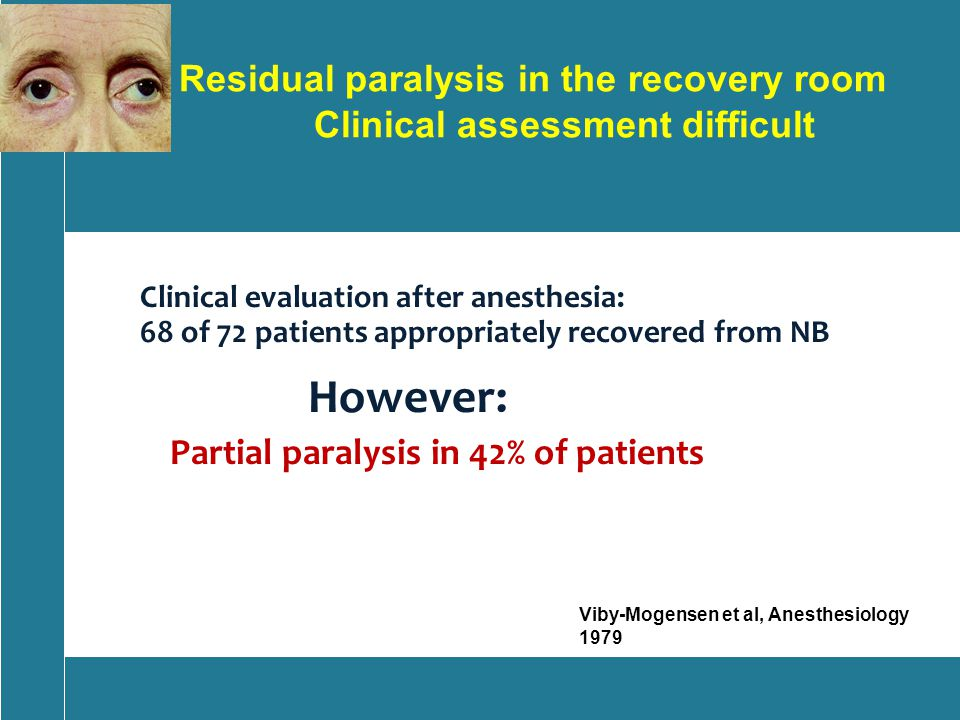 Residual paralysis in the recovery room Clinical assessment difficult