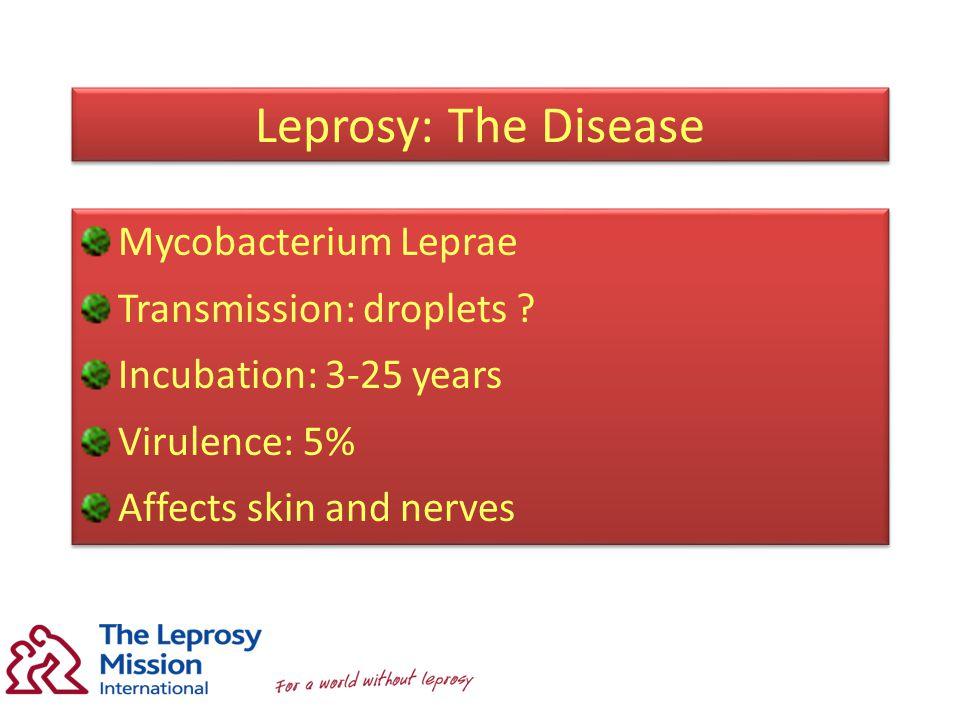 Leprosy: The Disease Mycobacterium Leprae Transmission: droplets