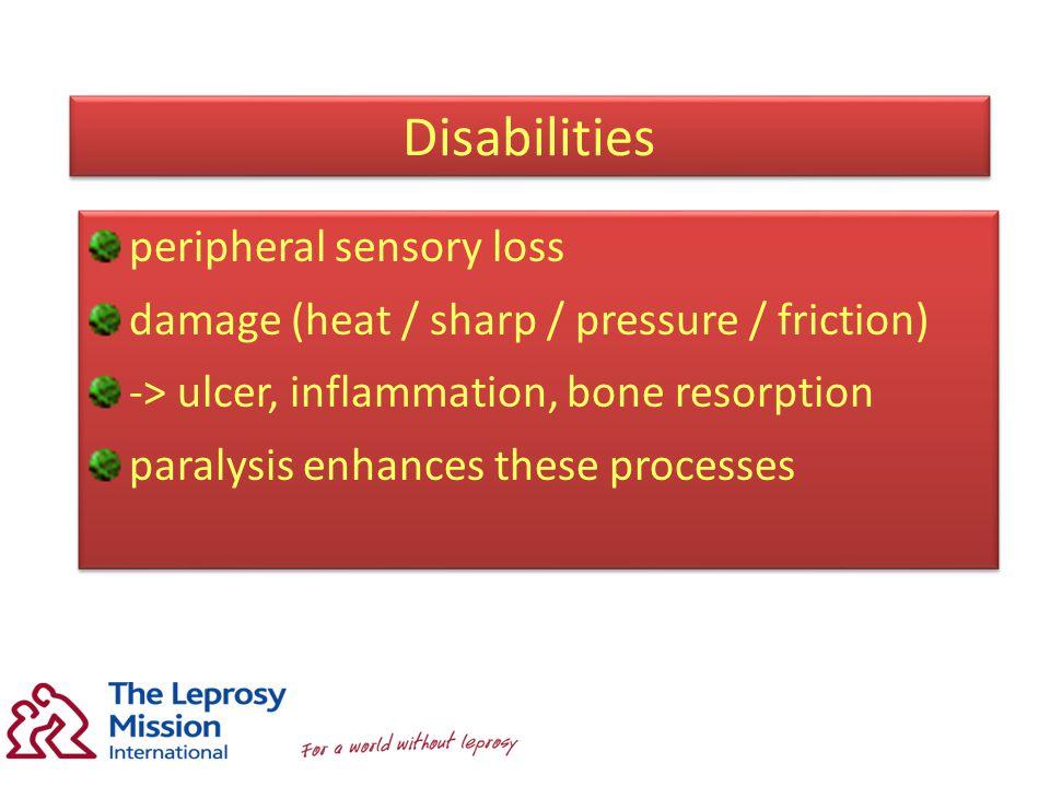 Disabilities peripheral sensory loss