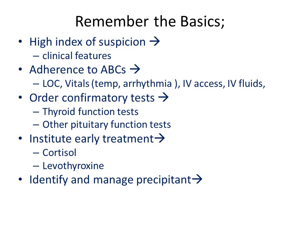 Remember the Basics; High index of suspicion  Adherence to ABCs 