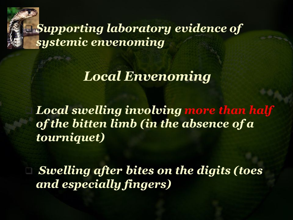 Supporting laboratory evidence of systemic envenoming