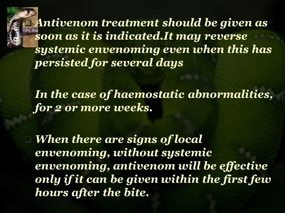 Antivenom treatment should be given as soon as it is indicated