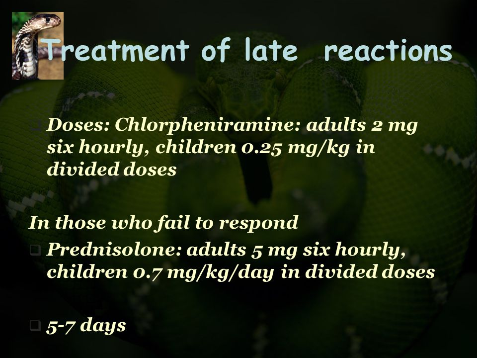Treatment of late reactions