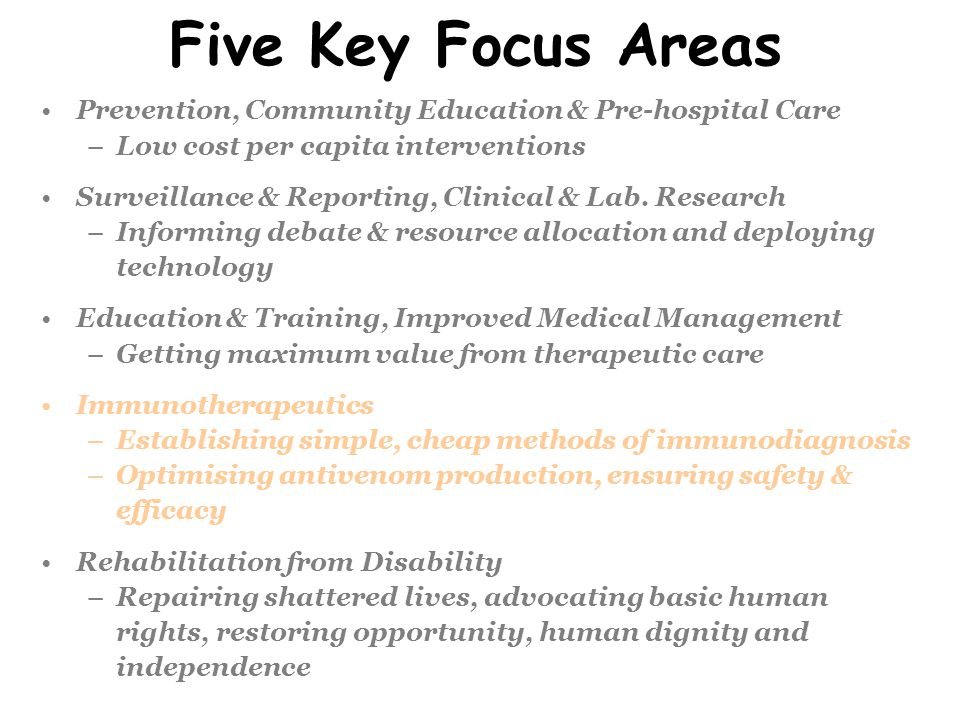 Five Key Focus Areas Prevention, Community Education & Pre-hospital Care. Low cost per capita interventions.