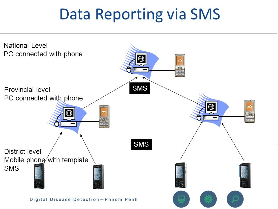 Data Reporting via SMS National Level PC connected with phone