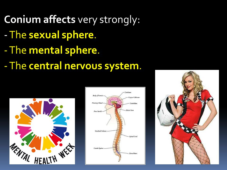 Conium affects very strongly: - The sexual sphere. - The mental sphere