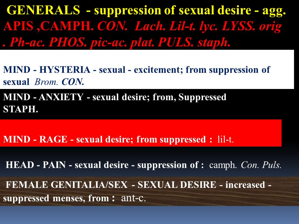 GENERALS - suppression of sexual desire - agg.