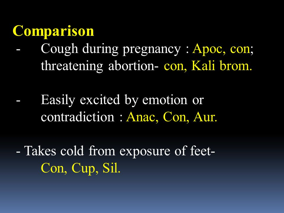 Comparison - Cough during pregnancy : Apoc, con;