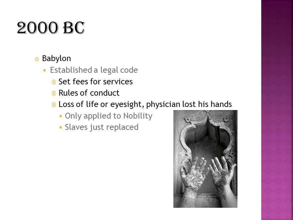 2000 BC Babylon Established a legal code Set fees for services