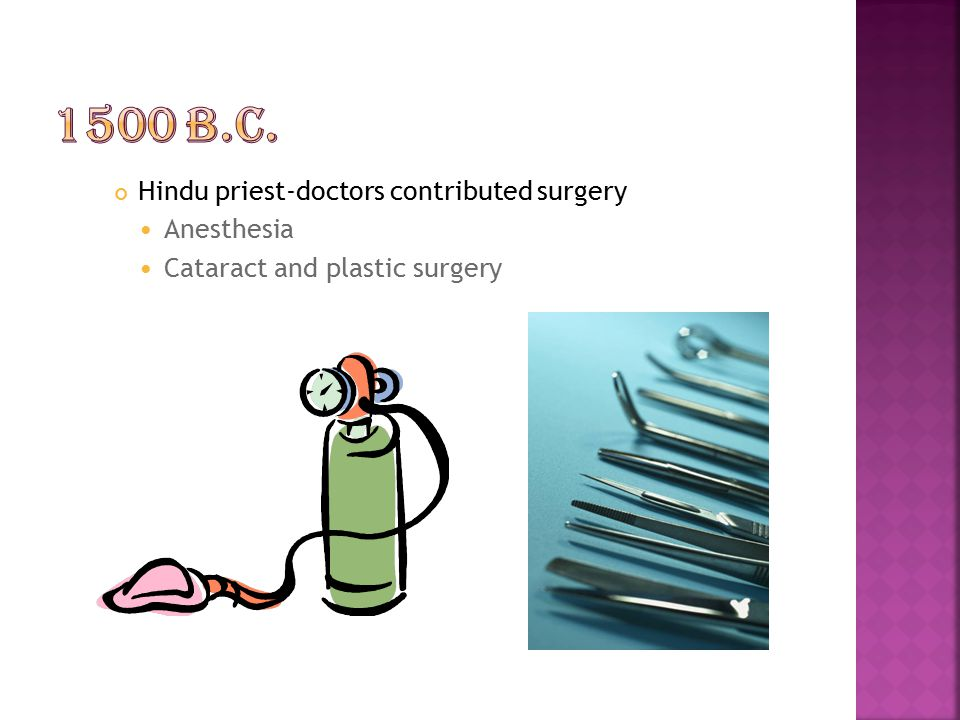 1500 B.C. Hindu priest-doctors contributed surgery Anesthesia
