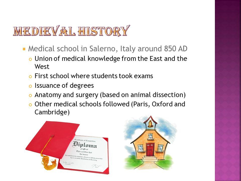 Medieval History Medical school in Salerno, Italy around 850 AD