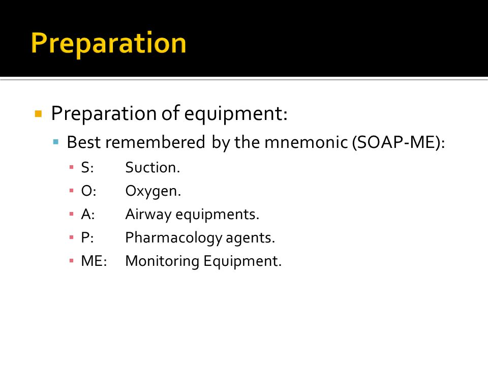 Preparation Preparation of equipment: