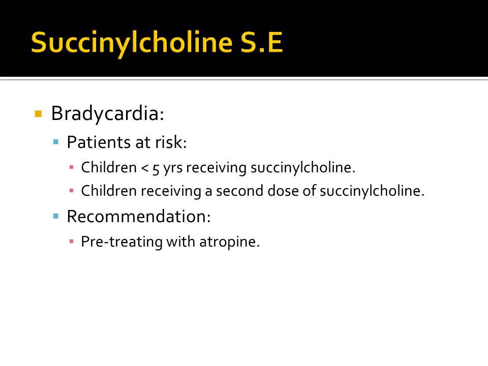Succinylcholine S.E Bradycardia: Patients at risk: Recommendation: