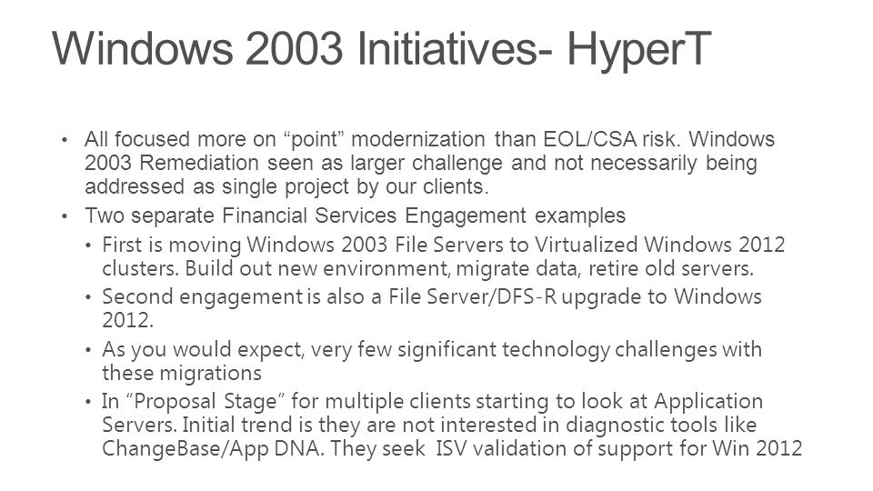 Windows 2003 Initiatives- HyperT