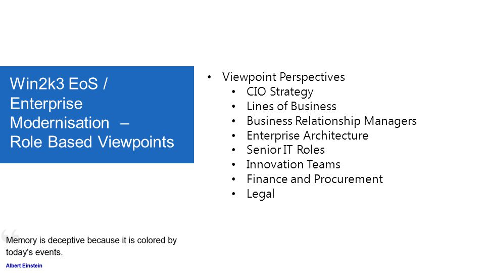 Win2k3 EoS / Enterprise Modernisation – Role Based Viewpoints