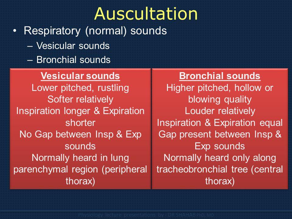 Auscultation Respiratory (normal) sounds Vesicular sounds
