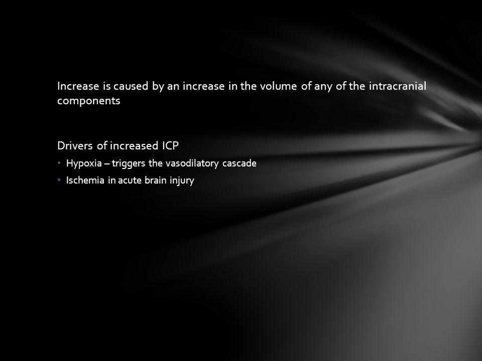 Drivers of increased ICP