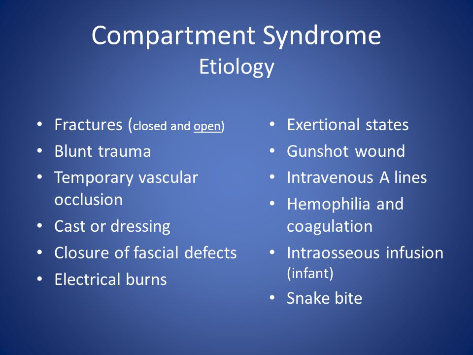 Compartment Syndrome Etiology