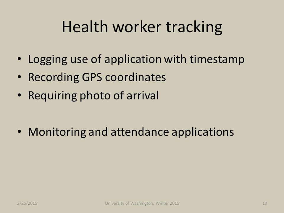 Health worker tracking