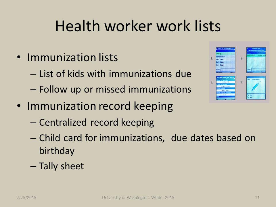 Health worker work lists