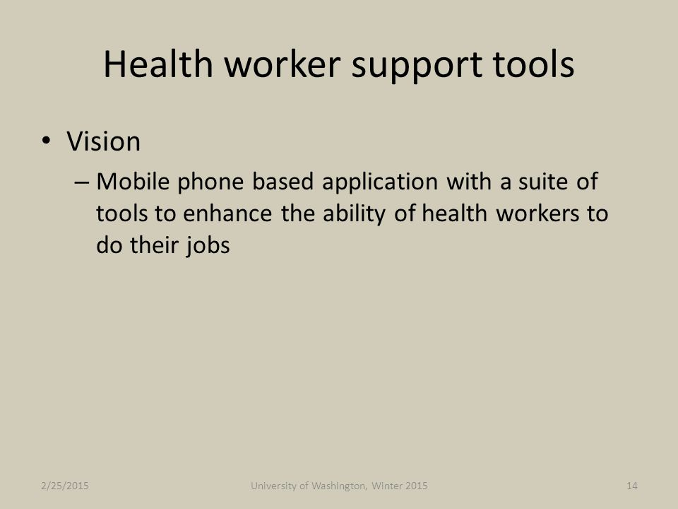 Health worker support tools