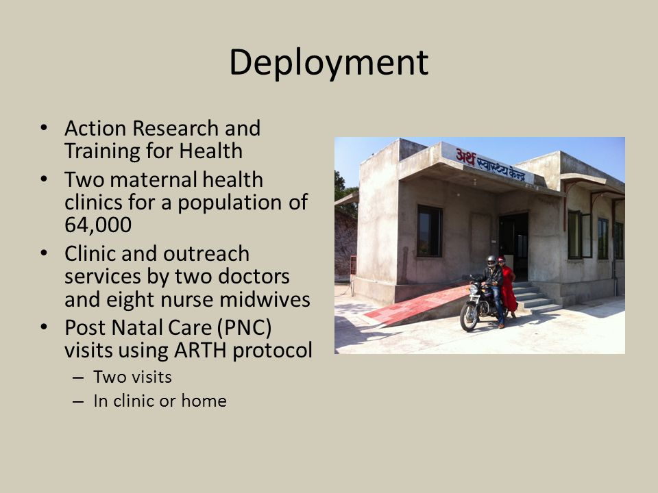 Deployment Action Research and Training for Health