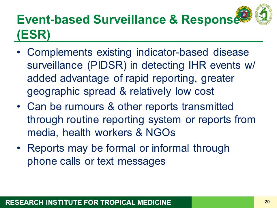 Event-based Surveillance & Response (ESR)
