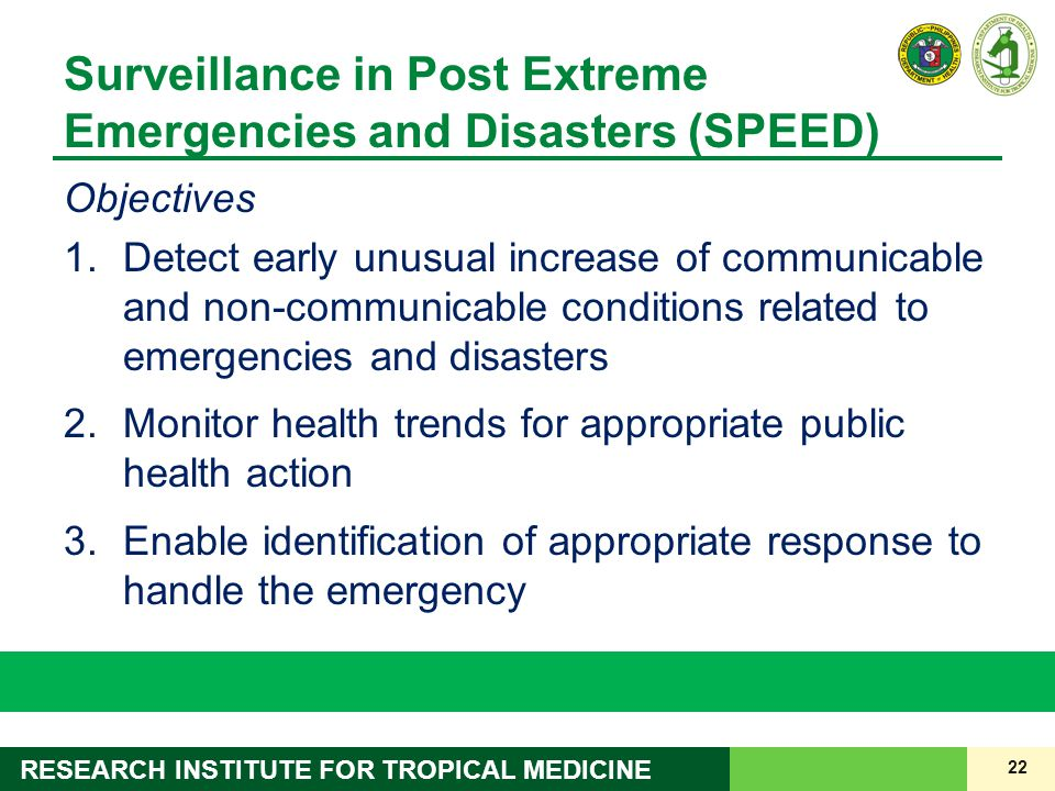 Surveillance in Post Extreme Emergencies and Disasters (SPEED)