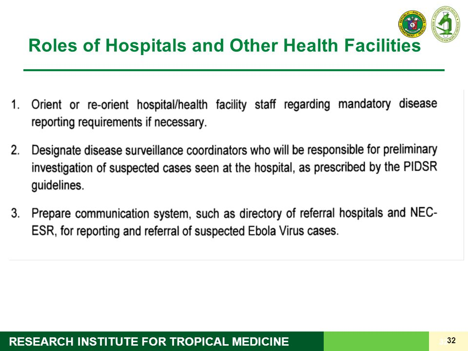 Roles of Hospitals and Other Health Facilities
