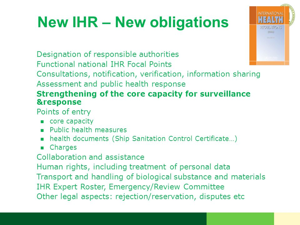 New IHR – New obligations