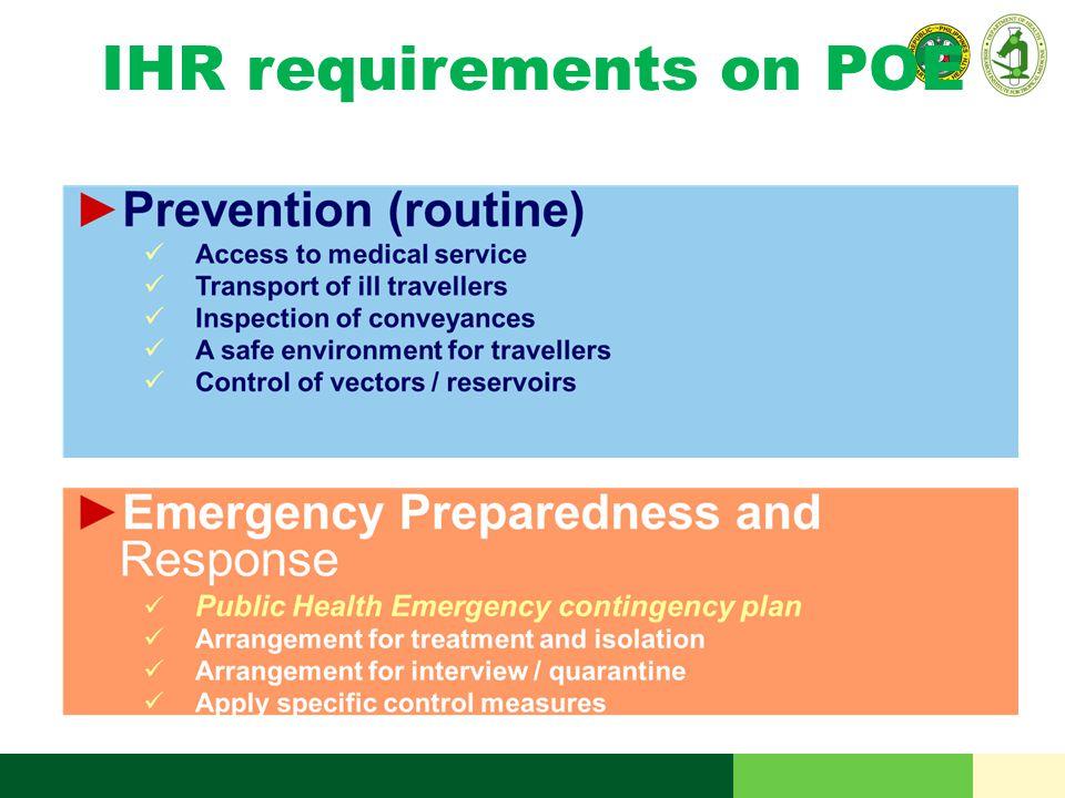 IHR requirements on POE