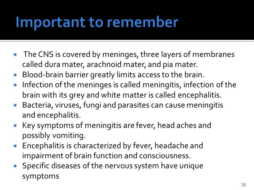 Important to remember The CNS is covered by meninges, three layers of membranes called dura mater, arachnoid mater, and pia mater.