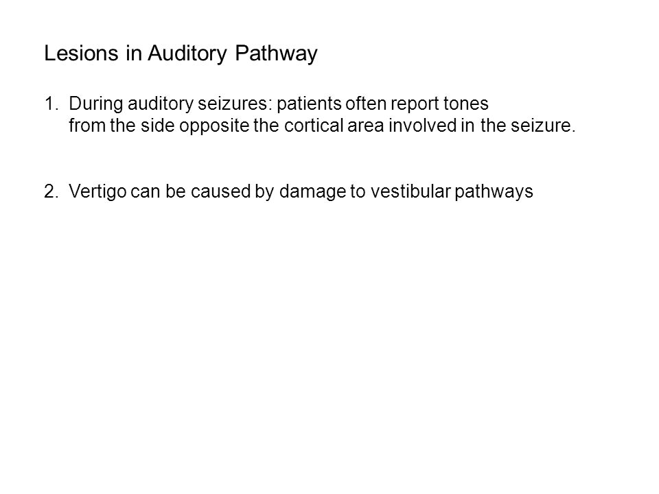 Lesions in Auditory Pathway