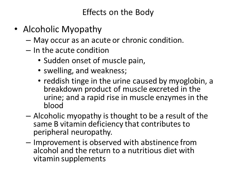 Alcoholic Myopathy Effects on the Body
