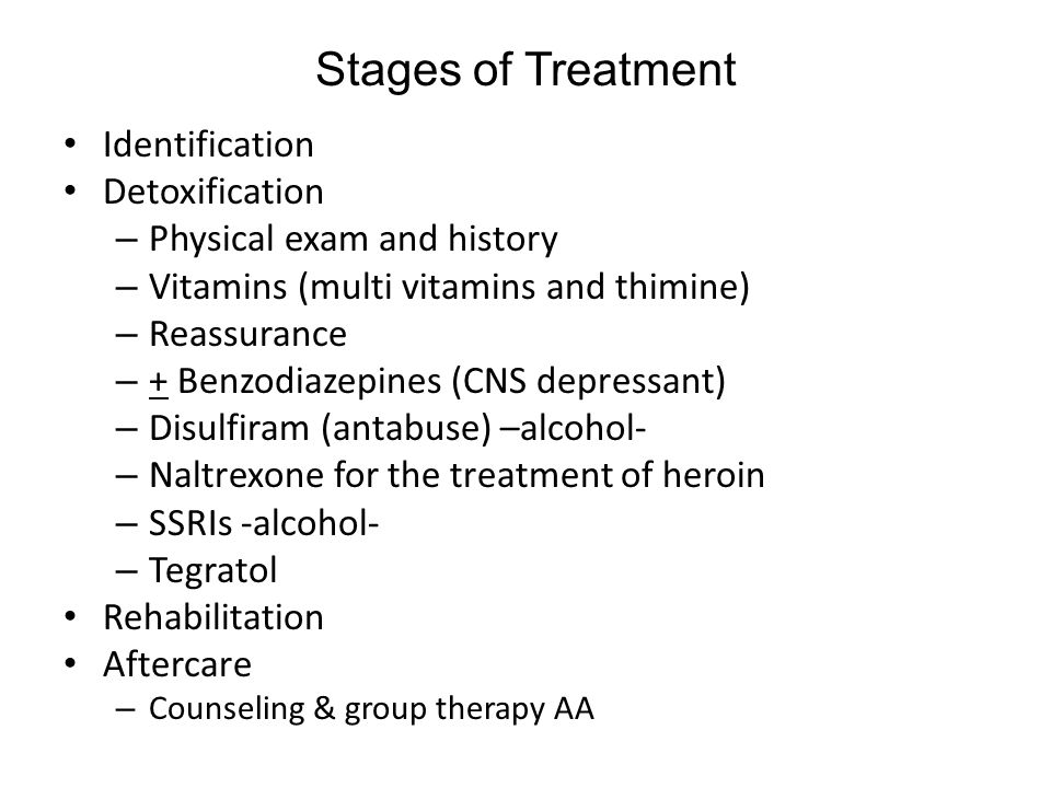 Stages of Treatment Identification Detoxification