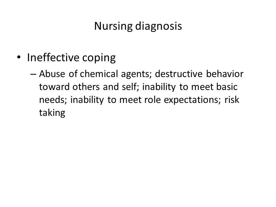 Nursing diagnosis Ineffective coping
