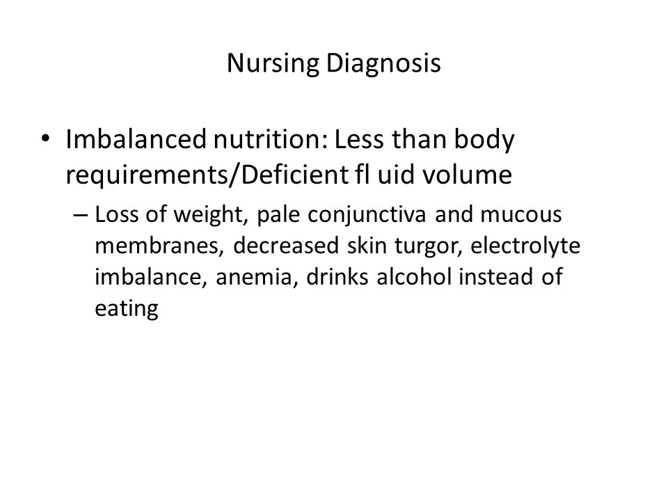 Nursing Diagnosis Imbalanced nutrition: Less than body requirements/Deficient fl uid volume.