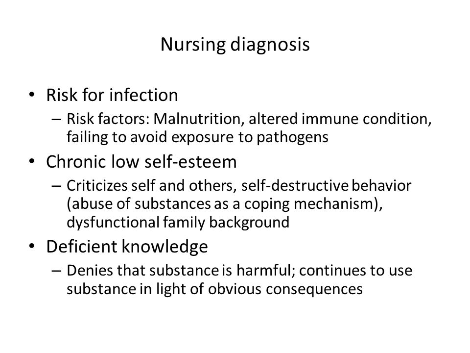 Nursing diagnosis Risk for infection Chronic low self-esteem