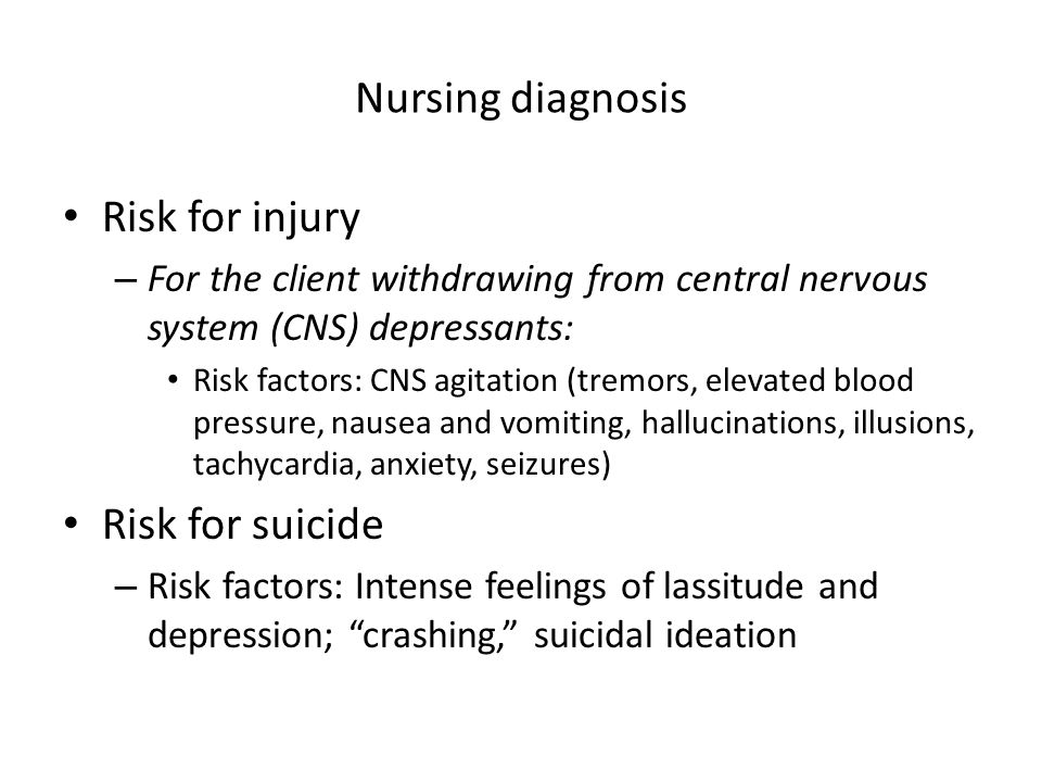 Nursing diagnosis Risk for injury Risk for suicide