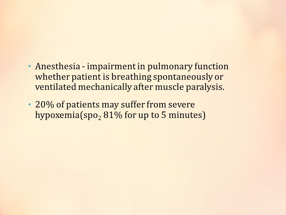 Anesthesia - impairment in pulmonary function whether patient is breathing spontaneously or ventilated mechanically after muscle paralysis.